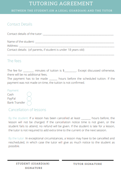 Tutoring Contract Free Template A Tutor